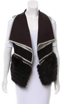 J. Mendel Fur-Accented Faux Suede Vest