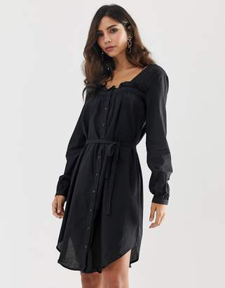 Vila square neck belted dress