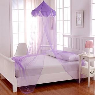 Casablanca Kids Pom Pom Collapsible Hoop Sheer Bed Canopy