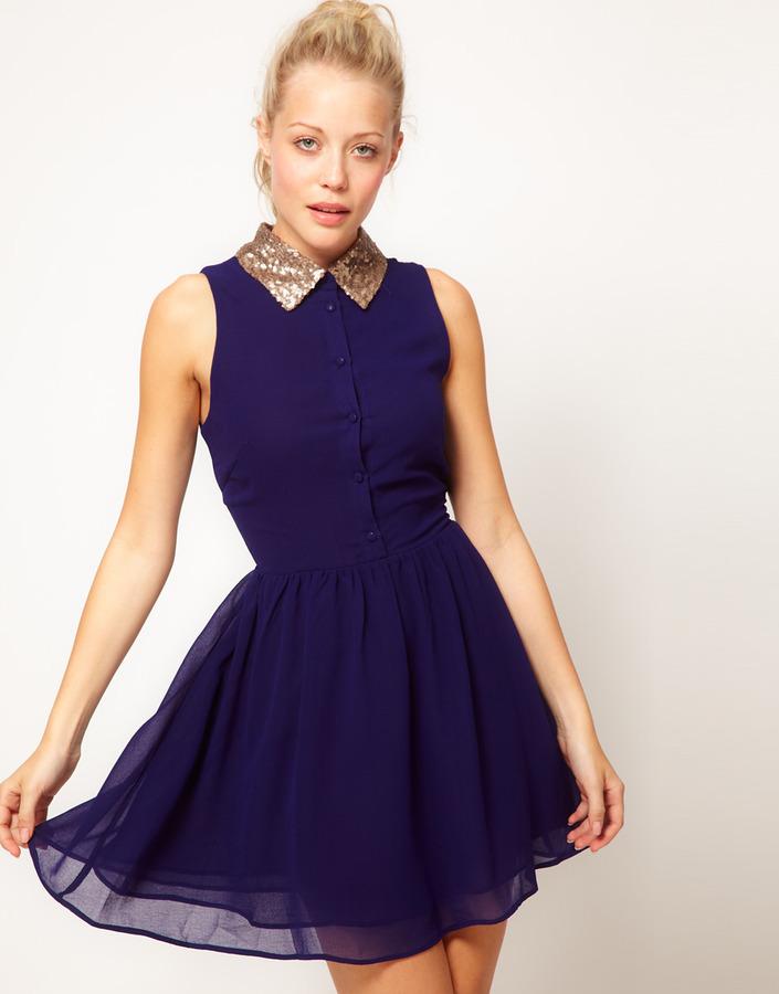 Glamorous Sequin Collar Shirt Dress