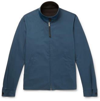 Sandro Reversible Leather-Trimmed Stretch Cotton-Blend Blouson Jacket