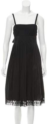 Robert Rodriguez Lace-Trimmed Pleat Dress
