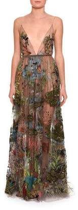 Valentino Embellished Sleeveless V-Neck Gown, Black