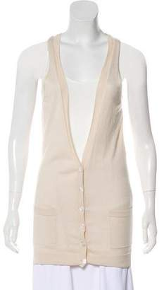 Barbara Bui Sleeveless Plunging Neckline Cardigan