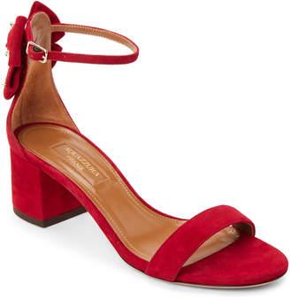 Aquazzura Spice Red Siena Suede Ankle Strap Pumps