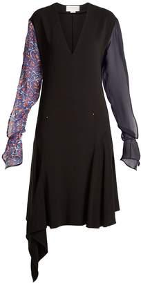 Esteban Cortazar Contrast-sleeve V-neck stretch-crepe dress