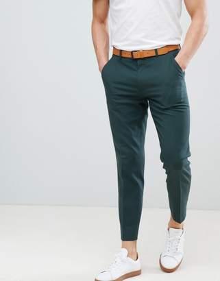 Asos Design DESIGN Skinny Smart Pants In Forest Green