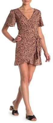 4SI3NNA the Label Hasmik Leopard Print Tie Waist Mini Dress