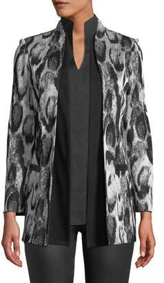 Misook Snow Leopard Printed Jacket w/ Shawl Front