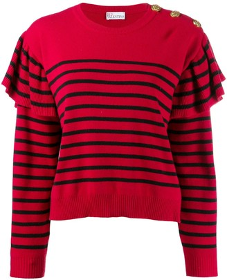 RED Valentino RED(V) striped knitted jumper