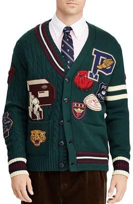 Polo Ralph Lauren Patchwork Merino Wool Letterman Cardigan