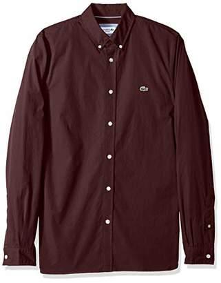 Lacoste Men's Long Sleeve Solid Poplin Stretch Collar Slim Woven Shirt