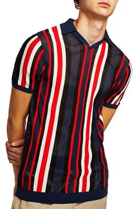 Topman Classic Fit Mesh Striped Polo