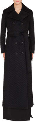 Akris Long Double-Breasted Tie-Waist Chevron Wool-Alpaca Coat