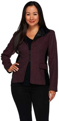 G.I.L.I. Got It Love It G.I.L.I. Zip Lapel Tweed Blazer with Faux Leather Detail