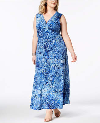 NY Collection Plus & Petite Plus Size Printed Surplice Maxi Dress