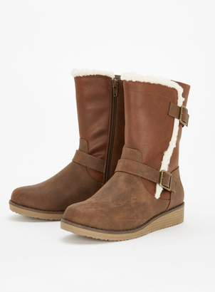 Extra Wide Fit Brown Faux Fur Lined Boots
