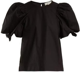 Sea Tie-detail puff-sleeve cotton-blend top