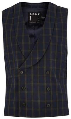 Topman Mens Blue Navy And Brown Check Muscle Fit Suit Vest