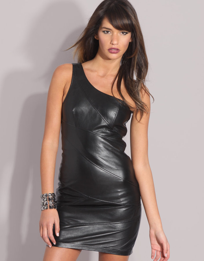 ASOS Leather Panelled One Shoulder Dress