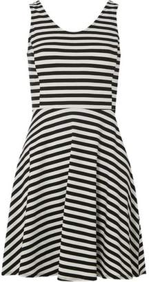 Dorothy Perkins Womens Petite Black Striped Jersey Skater Dress