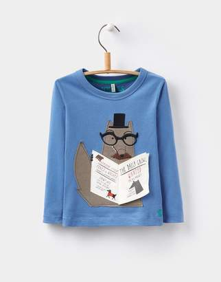 Joules Clothing Ocean Wolf Chomp Applique Top 1yr