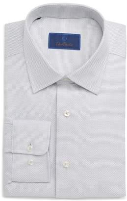David Donahue Regular Fit Microcheck Dress Shirt