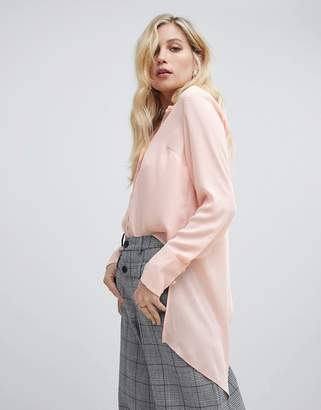 Oasis longline shirt with wrap detail in light pink