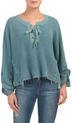 Juniors Mineral Washed Waffle Knit Sweater