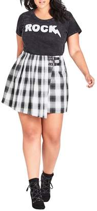 City Chic London Check A-Line Skirt