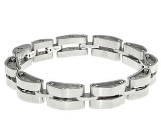 FINE JEWELRY Mens Stainless Steel Tank Link Bracelet with Lock Extender
