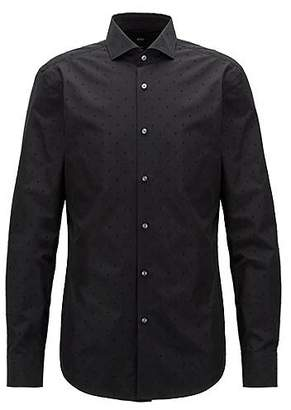HUGO BOSS Italian-made slim-fit shirt with flocked geometric motif