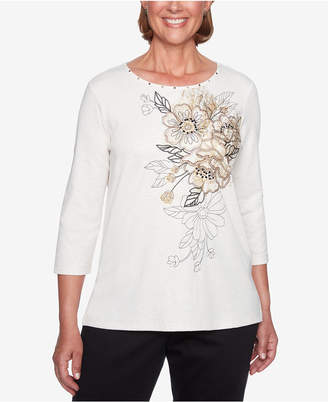 Alfred Dunner Petite Travel Light Embroidered Stud-Trim Top