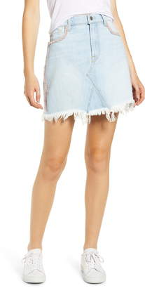 7 For All Mankind Pink Fringe Detail Denim Miniskirt