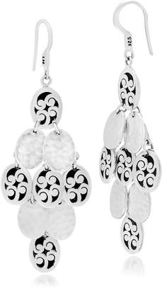 Lois Hill Sterling Silver Large Oval Hand Carved Scroll & Hammered Disc Dangle Earrings