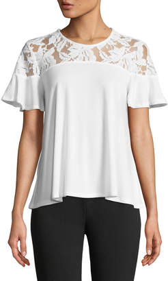 Cynthia Steffe Cece By Lace-Shoulder Short-Sleeve Tee