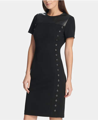DKNY Grommet T-Shirt Dress with Faux-Leather Trim