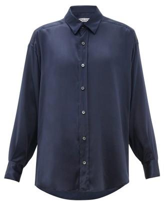 Katharine Hamnett Nicola Silk Satin Shirt - Womens - Navy