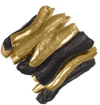 Josie Natori 24K Goldplated Brass With Darkwood Bracelet