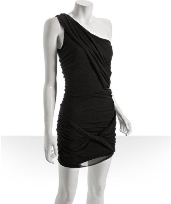 Wyatt black mesh one shoulder ruched dress