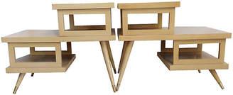 One Kings Lane Vintage Midcentury 3-Tier Side Tables - Set of 2 - Jacki Mallick Designs