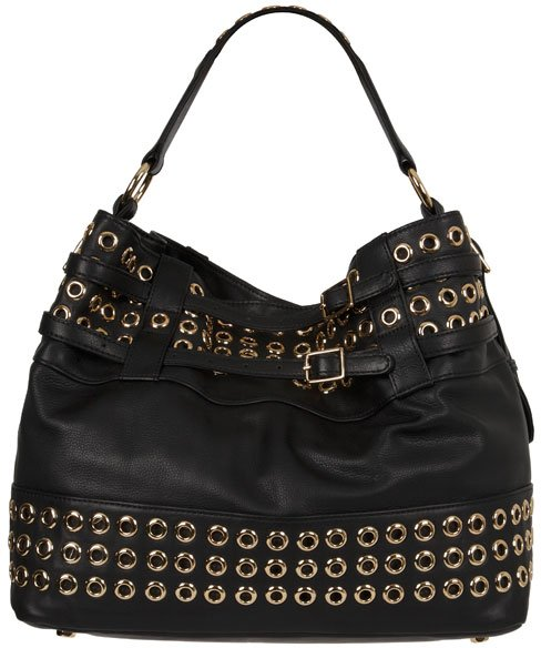 Rebecca Minkoff Eyelet Devote Studded Tote in Ebony