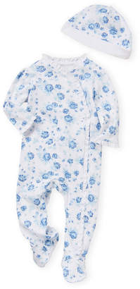 Little Me Newborn Girls) Two-Piece Floral Footie & Hat Set