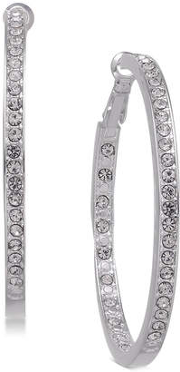 Essentials Large Silver Plated Crystal Inside Out Hoop Earrings