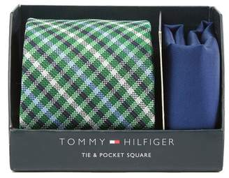 Tommy Hilfiger Oxford Check Tie & Solid Pocket Square Set