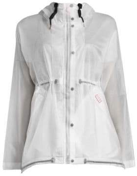Hunter Women's Solid Long-Sleeve Waterproof Jacket - White - Size Small