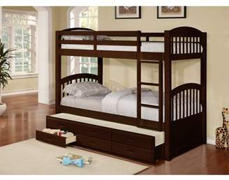 Pilaster Designs Brook Twin Size Espresso Finish Wood Country Style Slat Bunk Bed With Trundle & 3 Underbed Storage Drawers (Twin Over Twin Bunkbed)