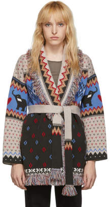 Alanui Multicolor Elephant Fair Isle Belted Cardigan