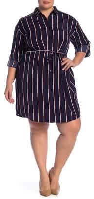 Como Vintage Belted Striped Shirtdress