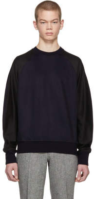 Paul Smith Navy and Black Raglan Sleeve Sweatshirt
